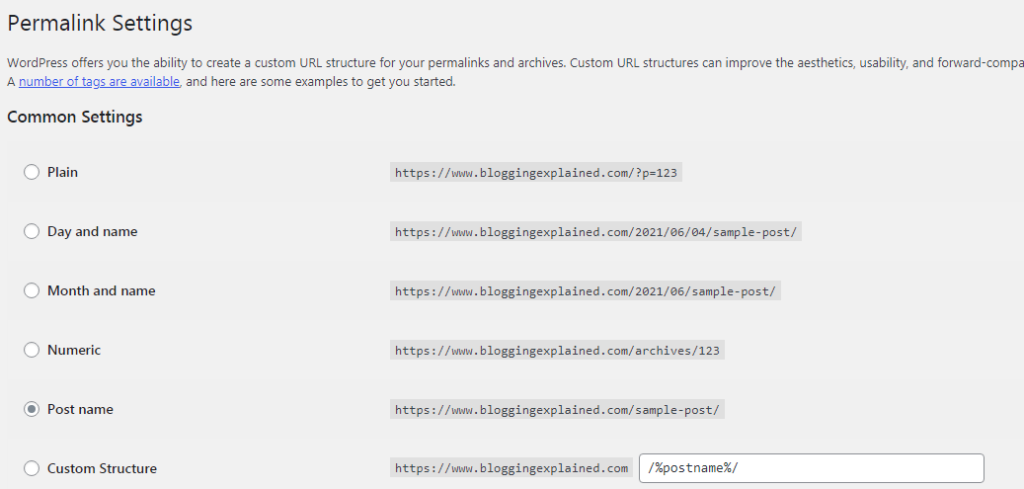 WordPress permalink settings (how to start a blog in India)